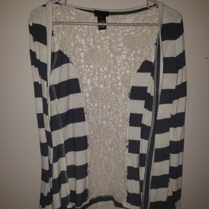Striped Cardigan with Crocheted back